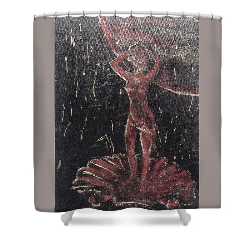 Renaissance Shower Curtain featuring the painting Return Of The Gods. Birth Of Venus by Vi Sarancha