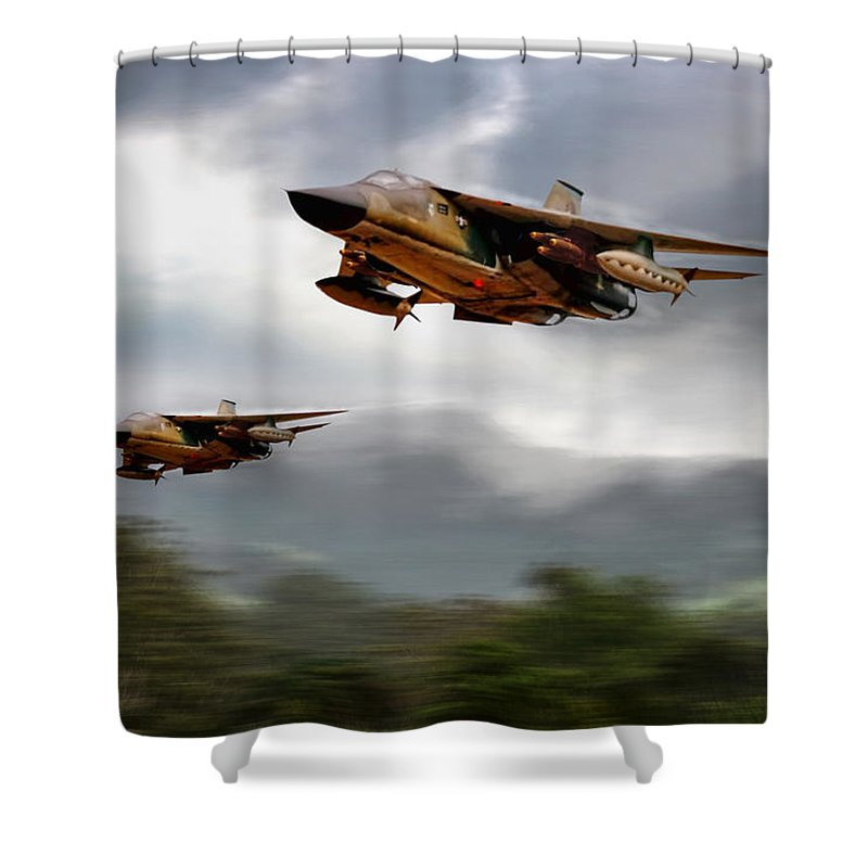 Aviation Shower Curtain featuring the digital art Return With A Vengeance by Peter Chilelli