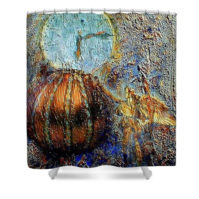 Christian Shower Curtain featuring the mixed media Revelation by Gail Kirtz