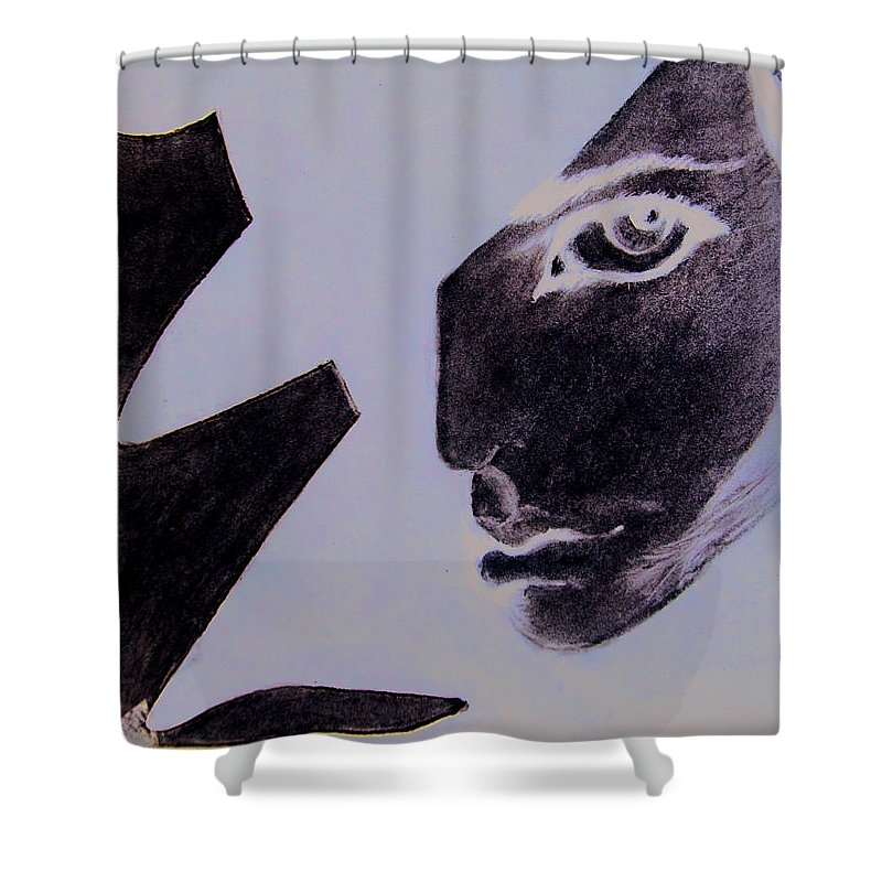 Black Shower Curtain featuring the pastel Revenge by Kayon Cox