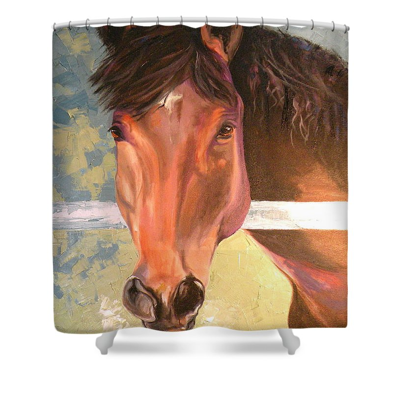 Horse Shower Curtain featuring the painting Reverie - Quarter Horse by Susan A Becker