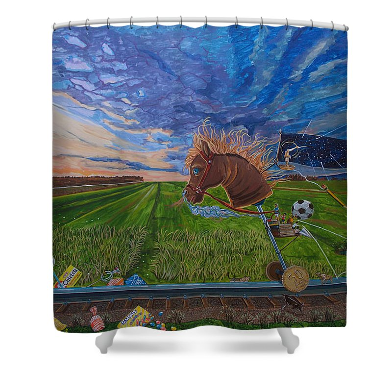 Fantasy Shower Curtain featuring the painting Revisiting, The Childhood Ride by Lazaro Hurtado