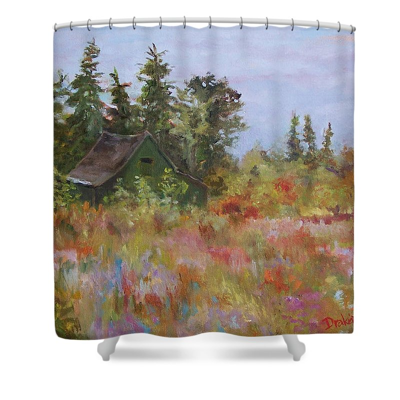 Foliage Shower Curtain featuring the painting Revolutionary Barn by Alicia Drakiotes