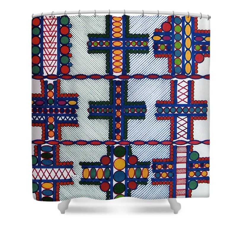 Abstract Crosses Shower Curtain featuring the drawing Rfb0413 by Robert F Battles