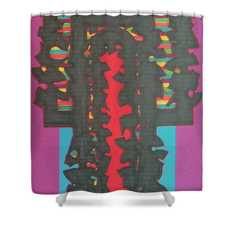 Abstract Shower Curtain featuring the drawing Rfb0420 by Robert F Battles