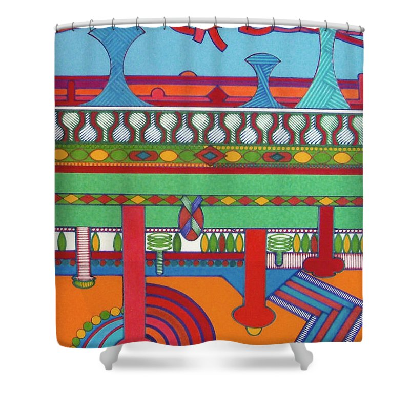 Beaming Towers Shower Curtain featuring the drawing Rfb0427 by Robert F Battles