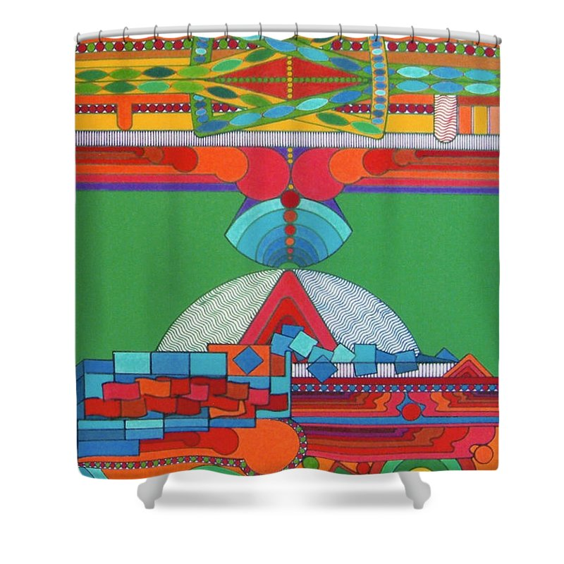 Stadium Of Color Shower Curtain featuring the drawing Rfb0428 by Robert F Battles