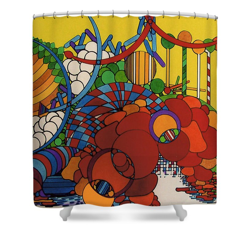 Abstract Theme Shower Curtain featuring the drawing Rfb0507 by Robert F Battles