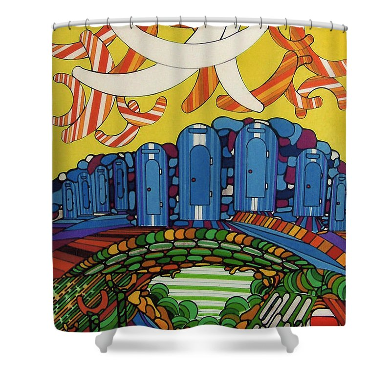 Boomerang Shower Curtain featuring the drawing Rfb0526 by Robert F Battles