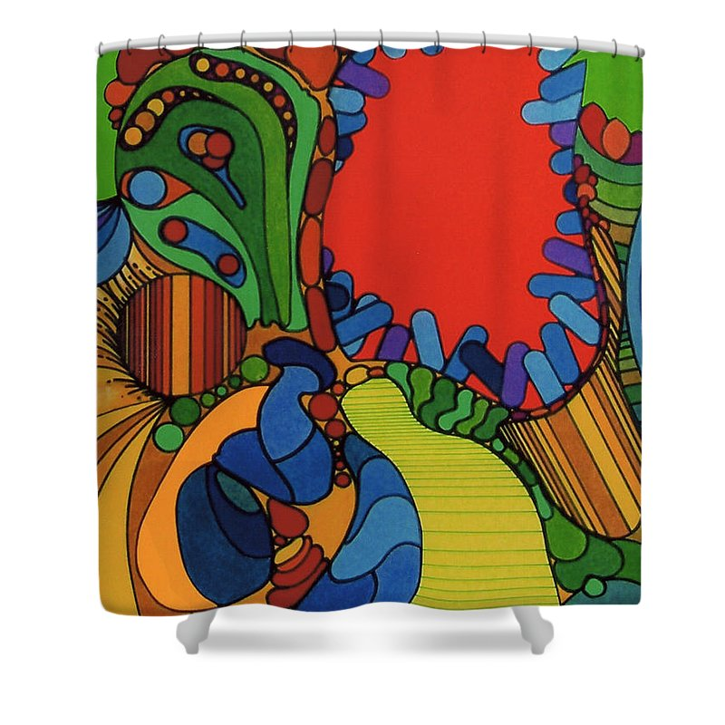 Canibal Flower Shower Curtain featuring the drawing Rfb0527 by Robert F Battles