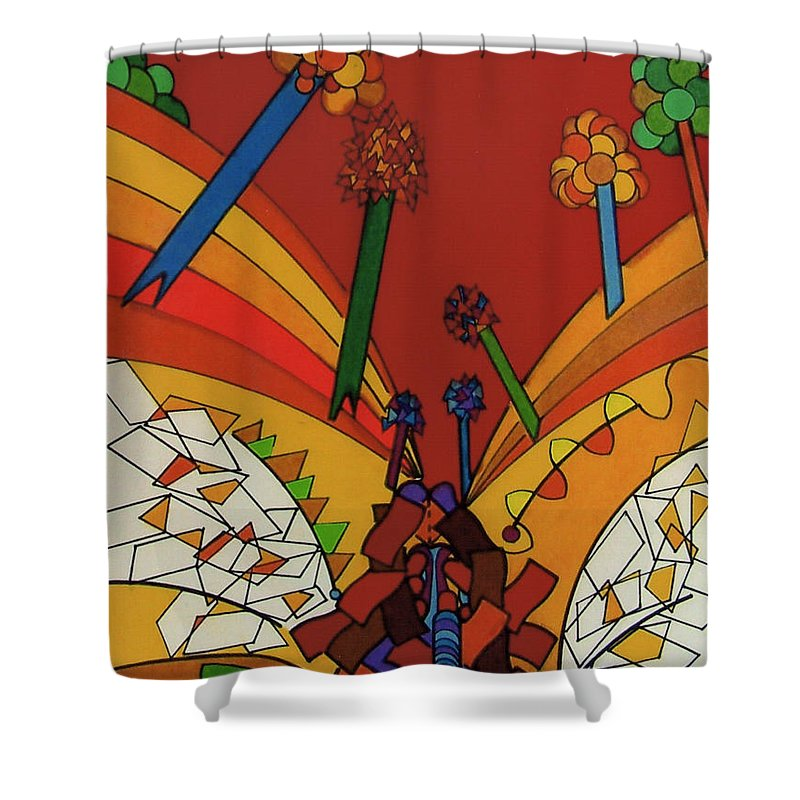 Red Valley Shower Curtain featuring the drawing Rfb0535 by Robert F Battles