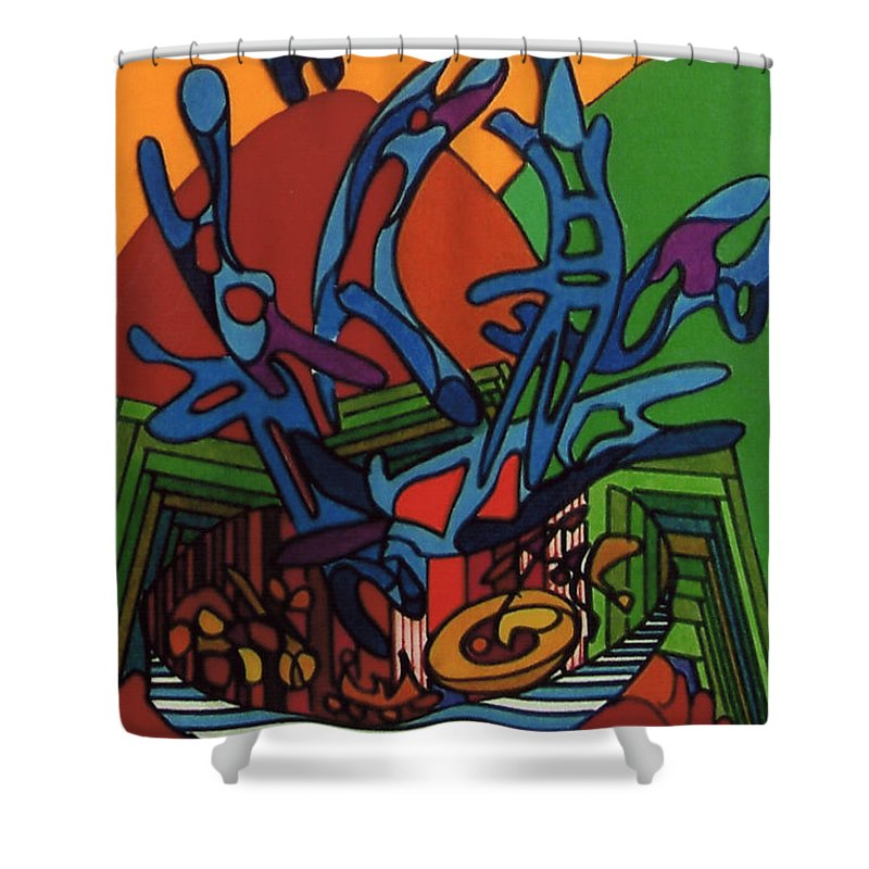 Dancing Landscape Shower Curtain featuring the drawing Rfb0538 by Robert F Battles