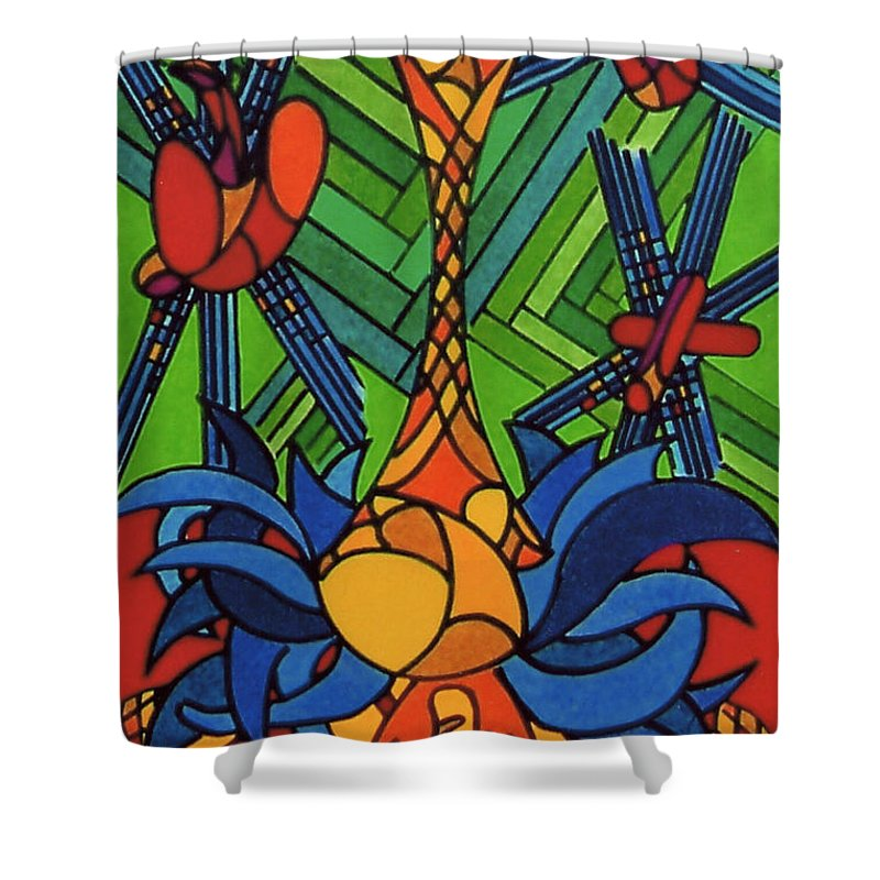 Blue Turkey Shower Curtain featuring the drawing Rfb0539 by Robert F Battles