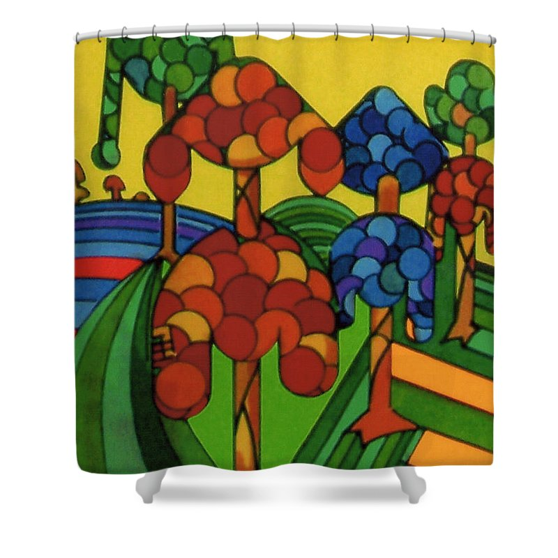 Wondering Flock Shower Curtain featuring the drawing Rfb0544 by Robert F Battles