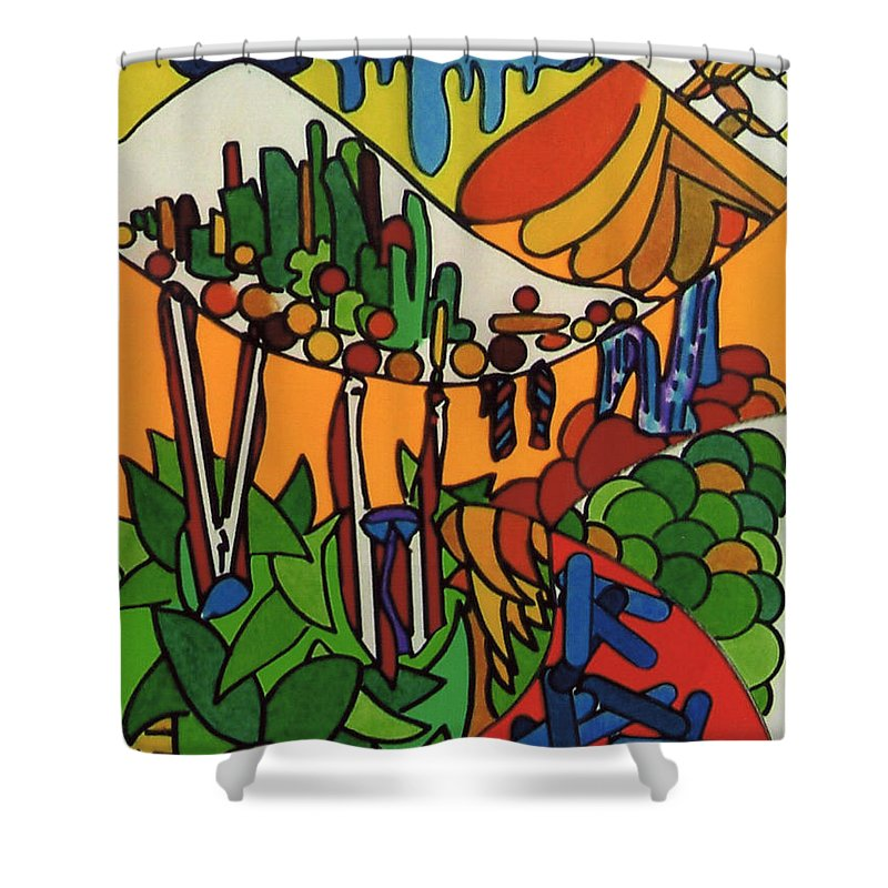 Tropical Oasis Shower Curtain featuring the drawing Rfb0547 by Robert F Battles