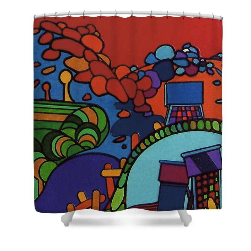 Red Path Shower Curtain featuring the drawing Rfb0548 by Robert F Battles