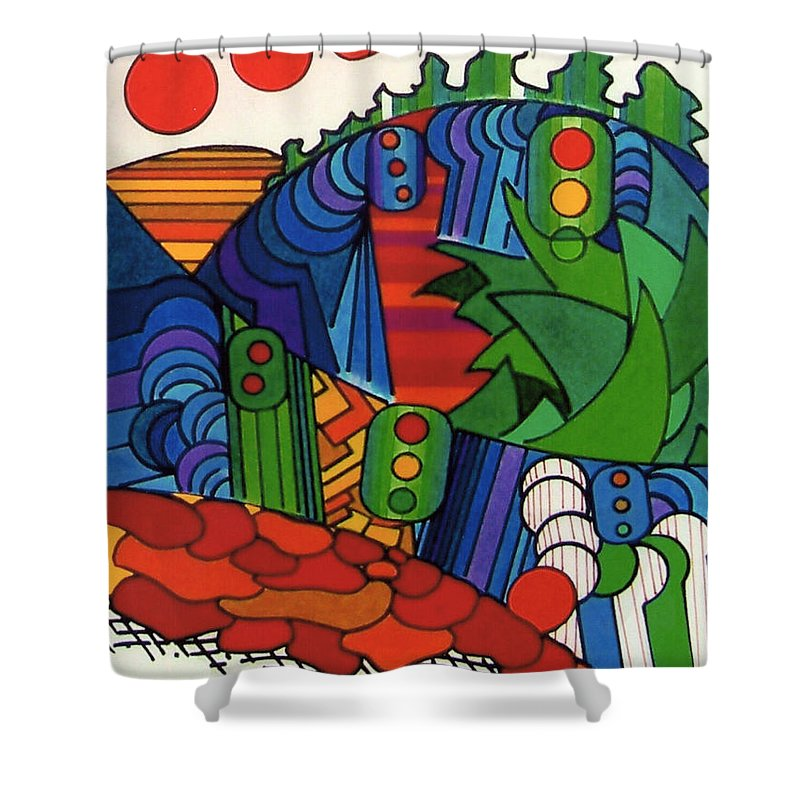 Abstract Shower Curtain featuring the drawing Rfb0549 by Robert F Battles