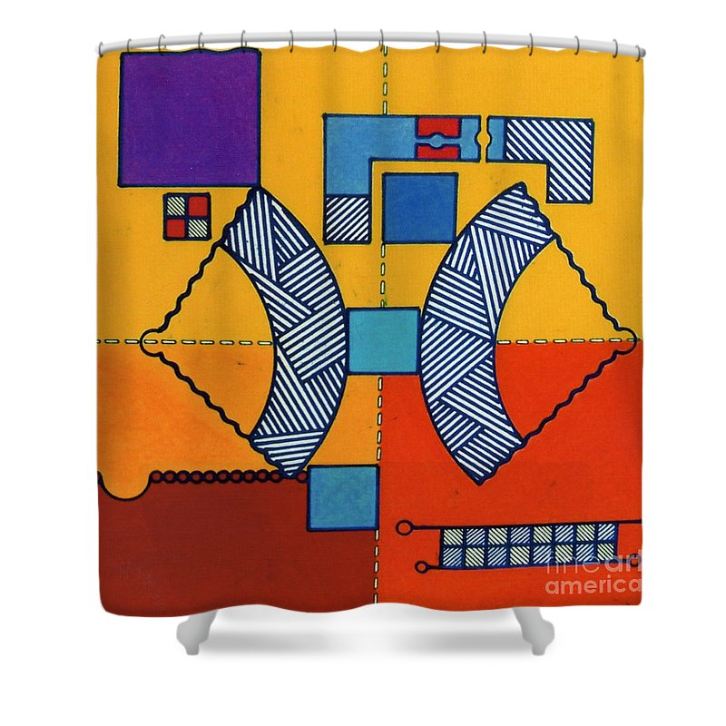 Angles Shower Curtain featuring the drawing Rfb0554 by Robert F Battles