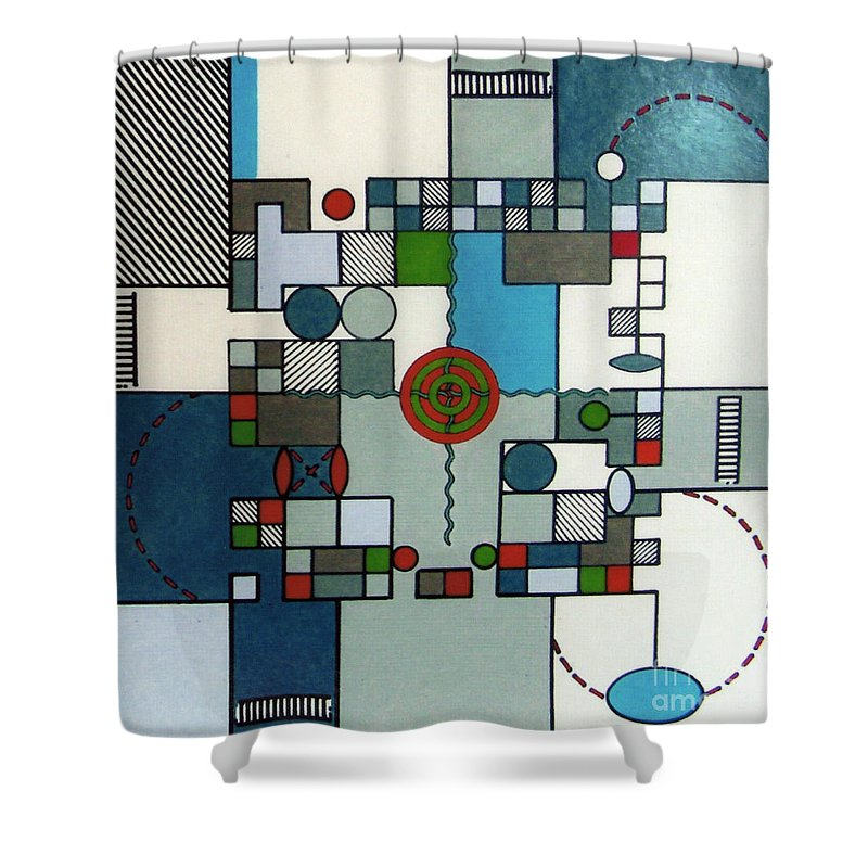 Abstract Shower Curtain featuring the drawing Rfb0568 by Robert F Battles