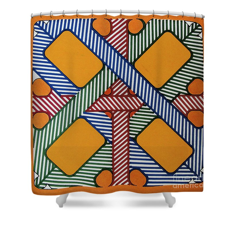 Abstract Shower Curtain featuring the drawing Rfb0611 by Robert F Battles