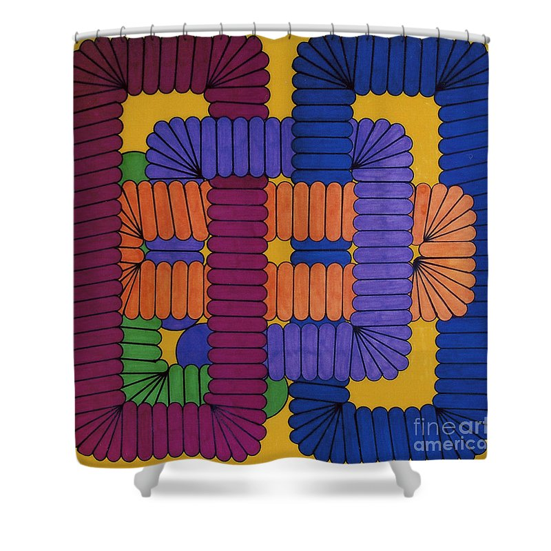 Abstract Shower Curtain featuring the drawing Rfb0612 by Robert F Battles