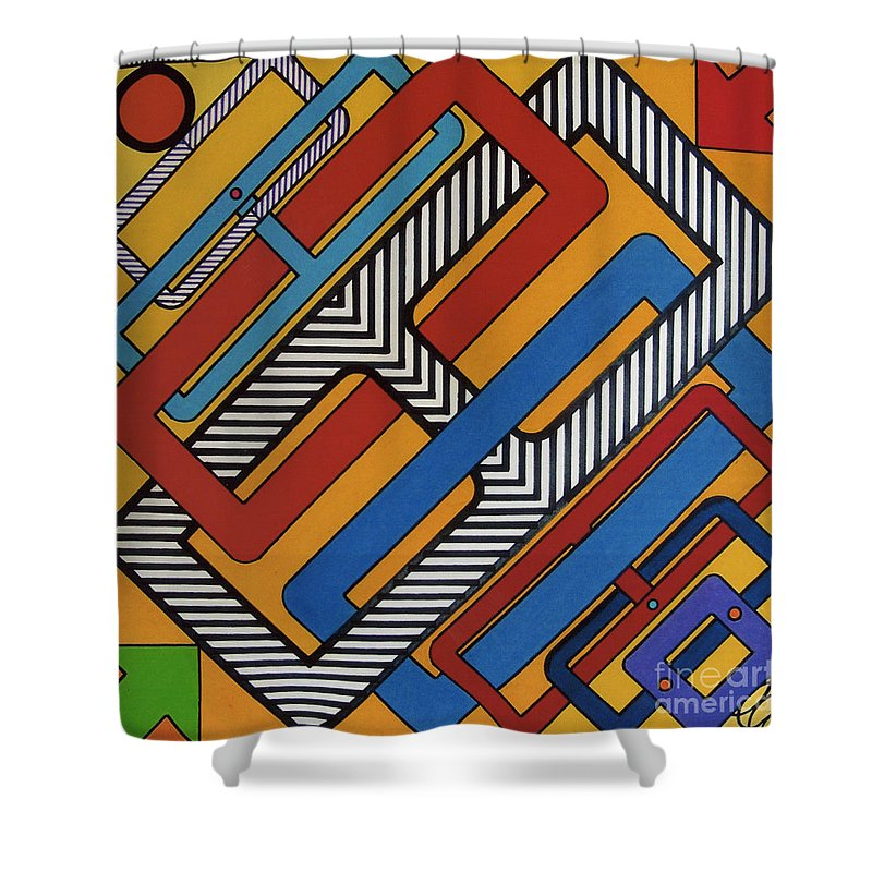 Right Angles Shower Curtain featuring the drawing Rfb0613 by Robert F Battles