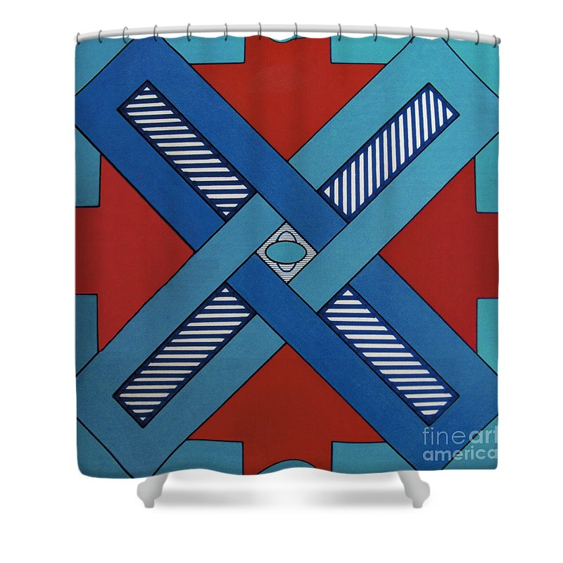 Abstract Shower Curtain featuring the drawing Rfb0623 by Robert F Battles