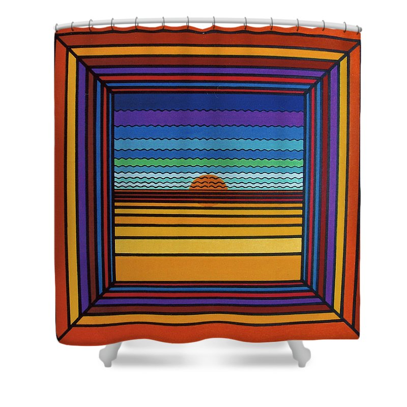 Framed Sunset Shower Curtain featuring the drawing Rfb0641 by Robert F Battles