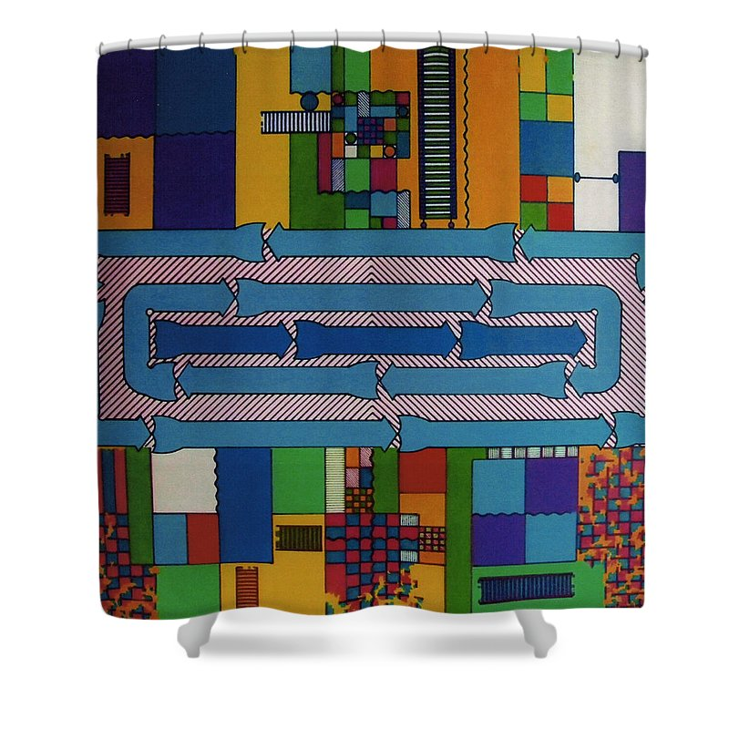 Abstract Shower Curtain featuring the drawing Rfb0649 by Robert F Battles