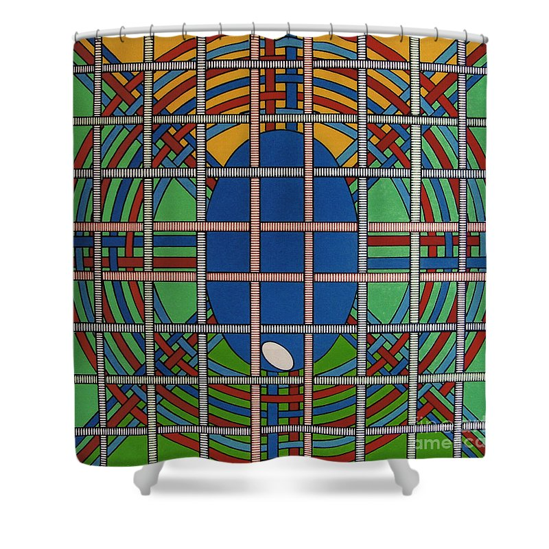 Balanced Weave Shower Curtain featuring the drawing Rfb0706 by Robert F Battles