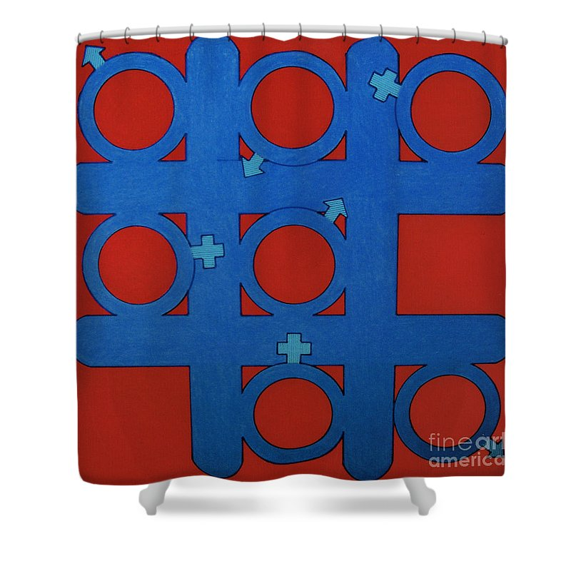 Tic-tac-toe Shower Curtain featuring the drawing Rfb0803 by Robert F Battles