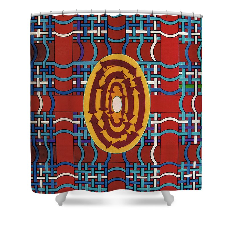 Plaid Shower Curtain featuring the drawing Rfb0809 by Robert F Battles