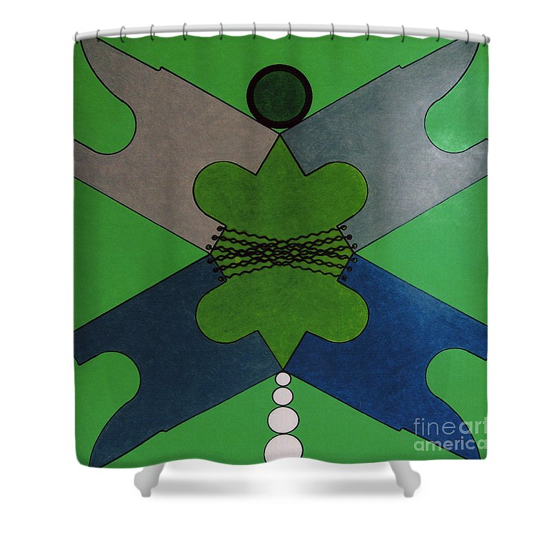 Abstract Shower Curtain featuring the drawing Rfb0921 by Robert F Battles