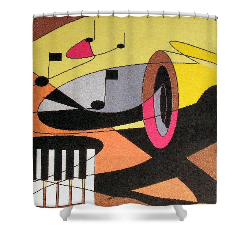 Music Shower Curtain featuring the digital art Rhapsody by Ian MacDonald