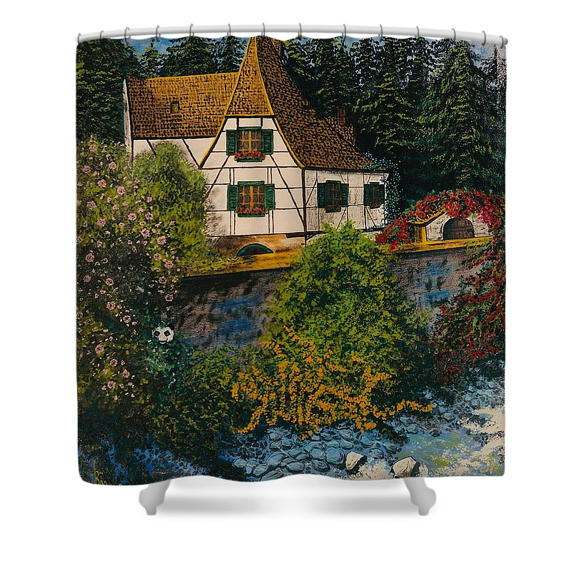 Germany Shower Curtain featuring the painting Rhine River Cottage by V Boge