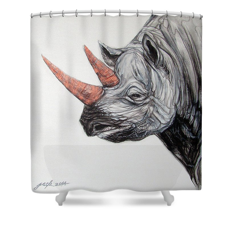 Original Art Painting & Creation Shower Curtain featuring the painting Rhinoceros by Jack No War