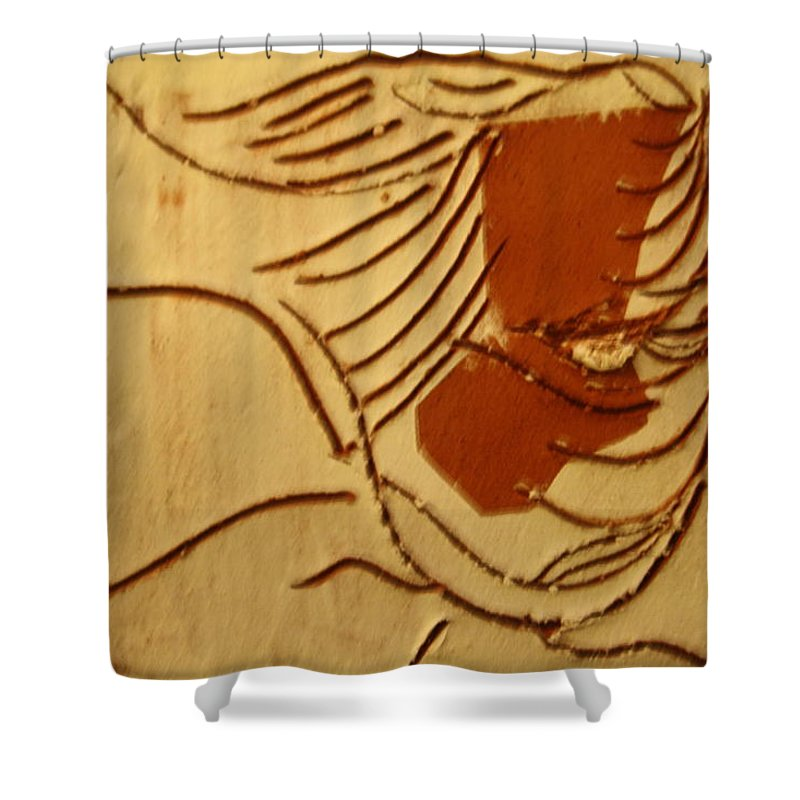 Jesus Shower Curtain featuring the ceramic art Rhoda - Tile by Gloria Ssali
