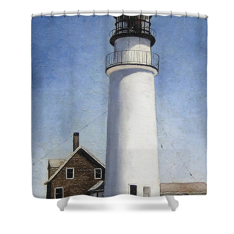 Lighthouse Shower Curtain featuring the painting Rhode Island Lighthouse by Mary Rogers