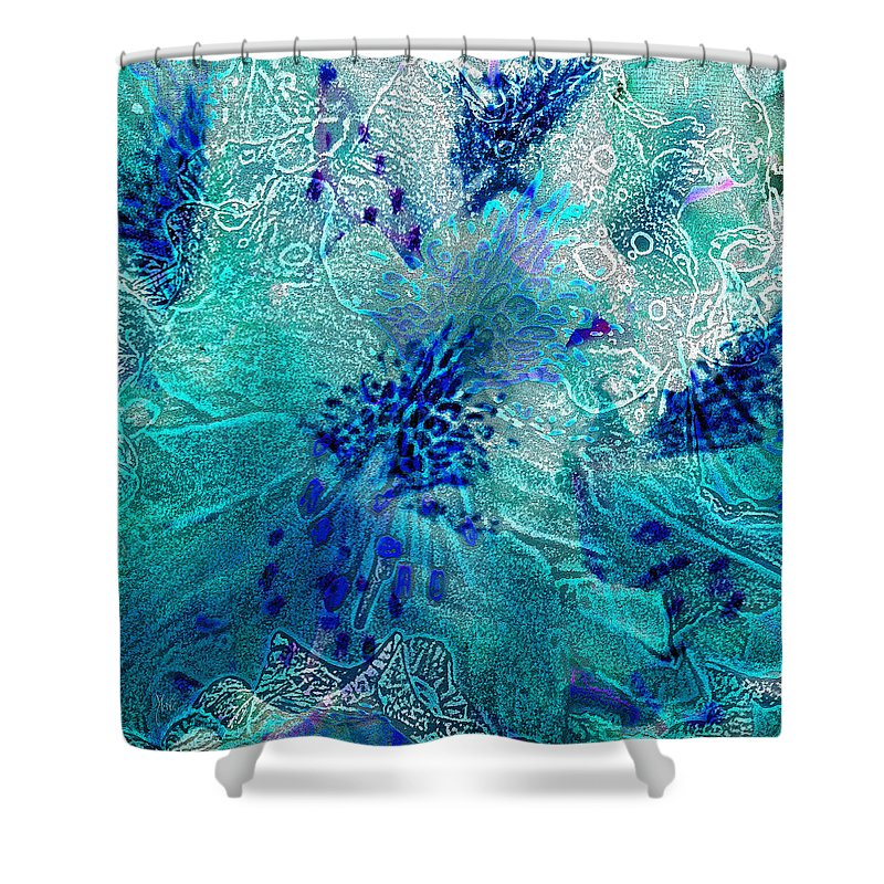 Rhododendron Turquoise Lace Shower Curtain For Sale By Michele Avanti