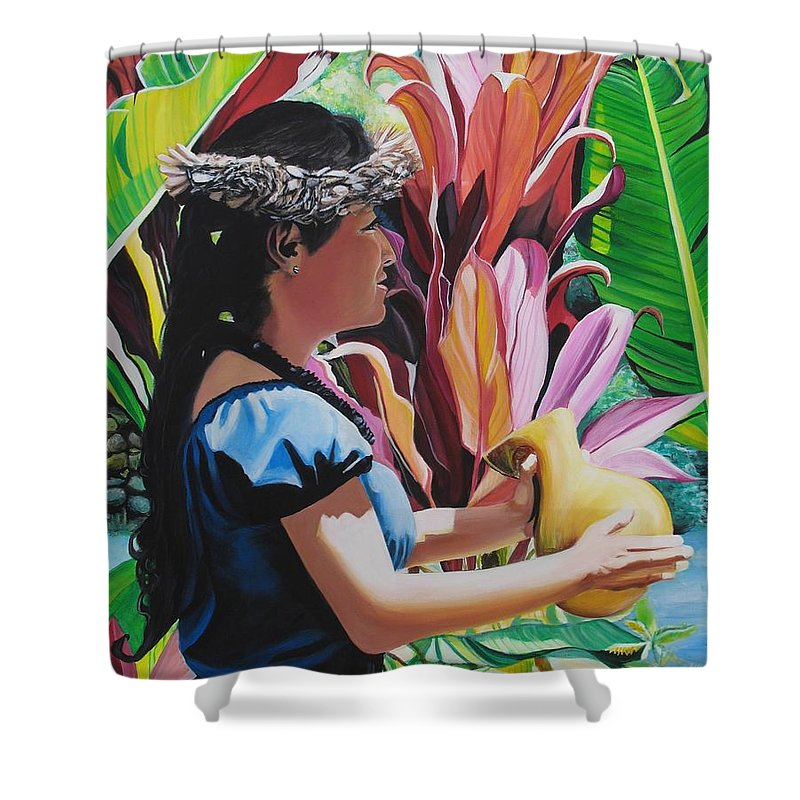 Rhythm Shower Curtain featuring the painting Rhythm Of The Hula by Marionette Taboniar