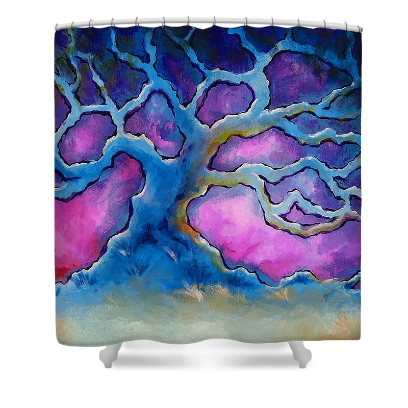 Landscape Shower Curtain featuring the painting Ria by Jennifer McDuffie