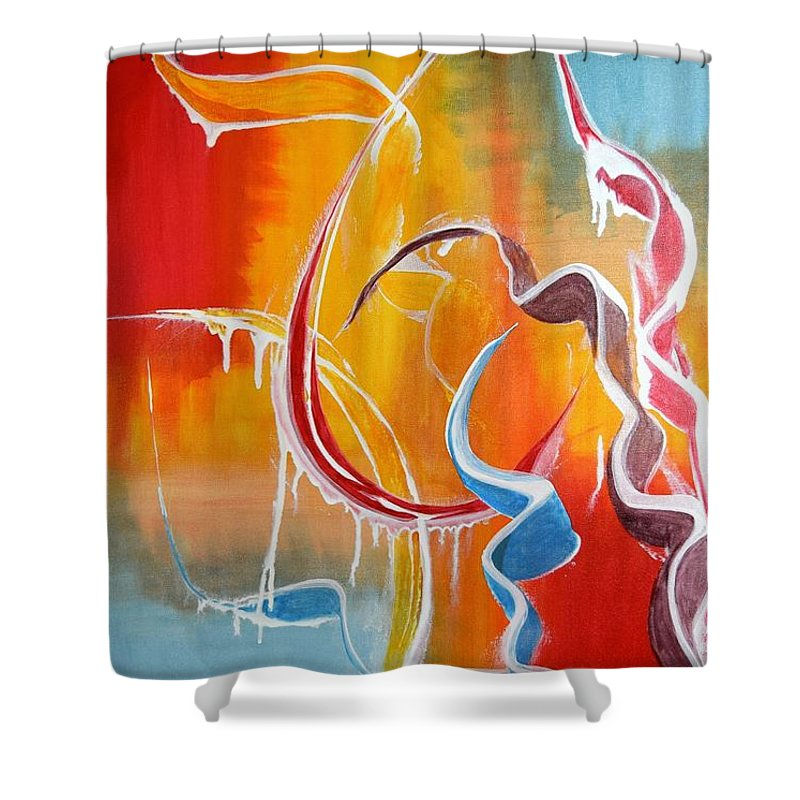 Ribbon Candy Shower Curtain featuring the painting Ribbon Candy by Adrianna Tarsha - McMillan
