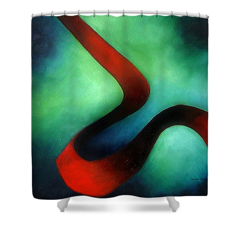 Red Shower Curtain featuring the painting Ribbon Of Time by Elizabeth Lisy Figueroa