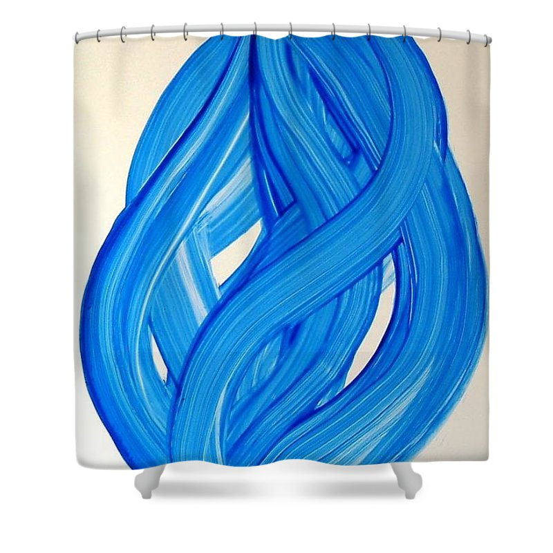 Abstract Modern Contemporary Yupo Art Painting Romantic Pop Blue Shower Curtain featuring the painting Ribbons of Love-Blue by Manjiri Kanvinde