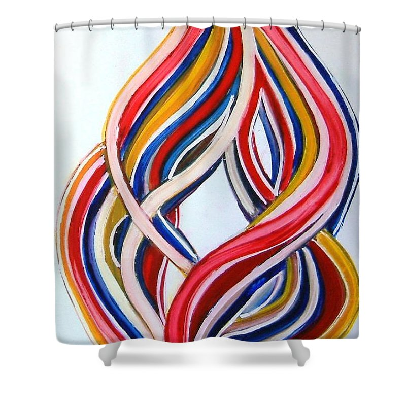 Abstract Modern Contemporary Pop Romantic Love Colourful Red Yellow Blue White Shower Curtain featuring the painting Ribbons Of Love-multicolour by Manjiri Kanvinde