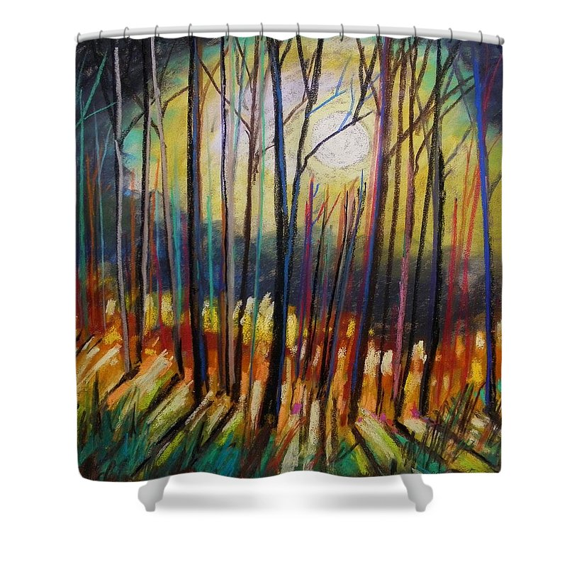 Landscape Shower Curtain featuring the painting Ribbons Of Moonlight by John Williams