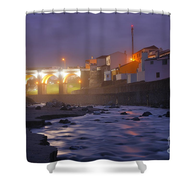 Ribeira Grande Shower Curtain featuring the photograph Ribeira Grande At Night by Gaspar Avila
