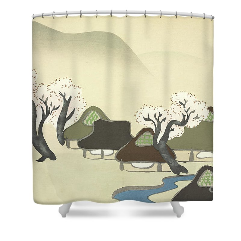 Rice Paddies Shower Curtain Featuring The Painting And Houses In Spring By Kamisaka Sekka