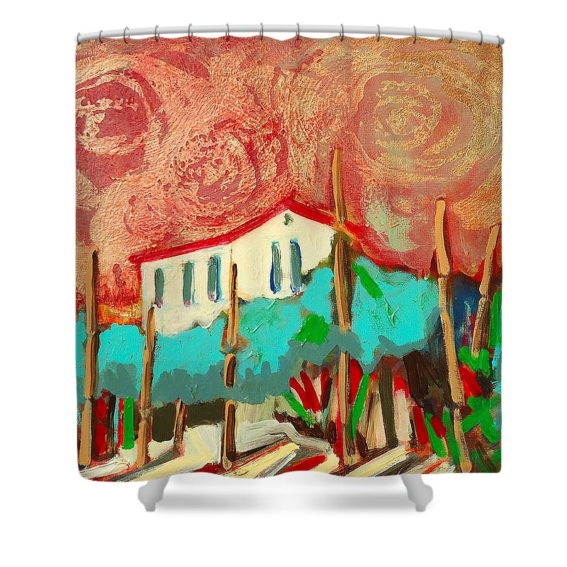 Tuscany Shower Curtain featuring the painting Ricordare by Kurt Hausmann