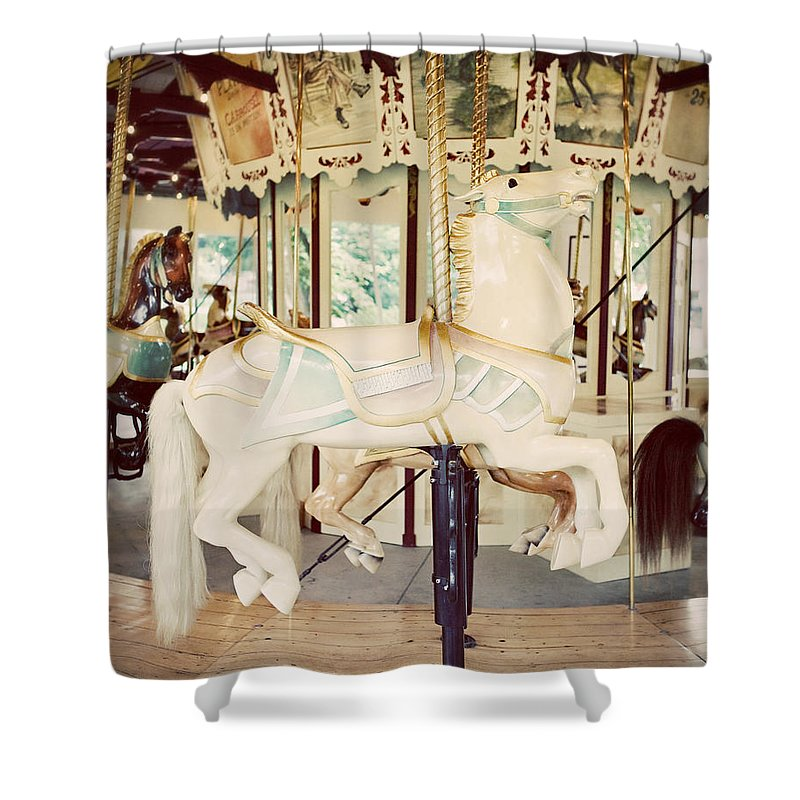 Merry Go Round Shower Curtain featuring the photograph Ride a White Horse by Lisa R